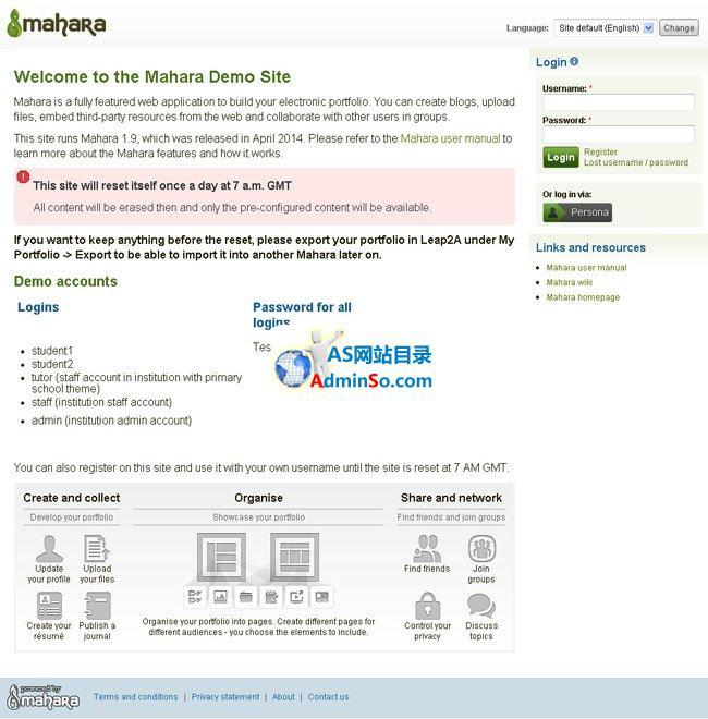 Mahara 社交网站系统